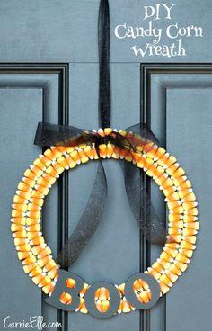 DIY Candy Corn Wreath - Carrie Elle
