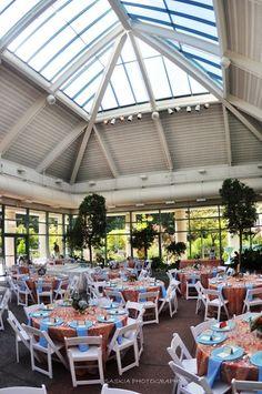 A glass enclosed atrium provides this wedding reception with tons of light! {The Atrium at Meadowlark Botanical Gardens}