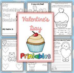 Valentine's Day Printables for Kindergarten and grade one, revised Jan. 2014$