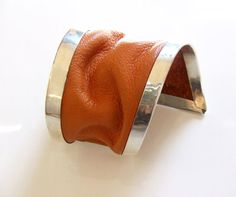 asymmetrical orange leather and sterling silver bracelet by evasugar