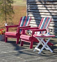 Weathered Americana Adirondack Chair And Half-Moon Side Table