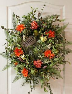 Spring/Summer Wreath Artichokes Daisies by FloralsFromHome on Etsy,