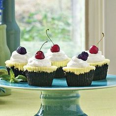 Chocolate-Key Lime Cupcake Pies |  This cupcake version of a chocolate-key lime pie is an ideal pick-up dessert for entertaining. Make a crumb crust with chocolate wafers and top with a sweet cream cheese mixture flavored with fresh key lime juice. | SouthernLiving.com