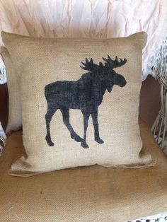 Burlap moose pillow lodge decor rustic decor by burlapheartstrings, $25.00