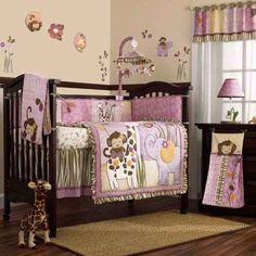 pink monkey nursery - bedding for Gianna