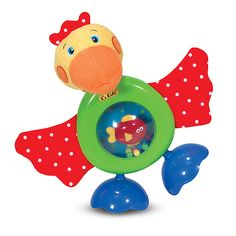 With crinkly patterned wings, a big squeaky beak, a wiggly fish in his belly, and a mirror on his back, this funny fellow offers lots of incentive to touch, feel, lift, turn, and exercise early motor skills.