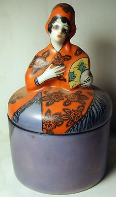 Antique Deco Noritake Figural Lady Powder Box Jar Mint 3 Day Estate Auction | eBay