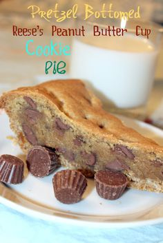 Pretzel Bottomed Reese's Peanut Butter Cup Cookie Pie