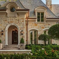 Exterior- French Inspired Design french provincial, front door, exterior, dream, curb appeal, bathroom designs, french country design, stones, stone houses