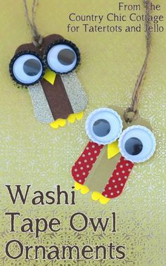 Washi Tape Owl Ornaments -- perfect ornaments for your Christmas tree.  Make these fun ornaments with your kids today.