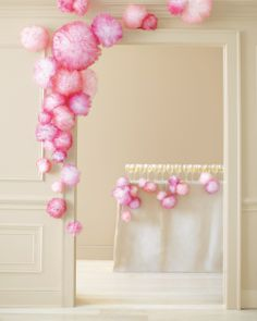 Pom-poms made with tulle & spray paint. wall decor, pom poms, spray, pouf, color, door, paint, shower, parti