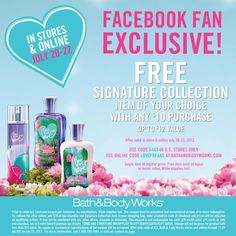 Saving 4 A Sunny Day: Free Signature Collection At Bath & Body Works-Last Day