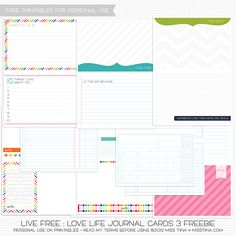 free journal cards