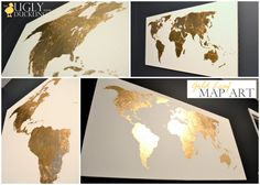 wall art, map art, gold leaf, color, world maps