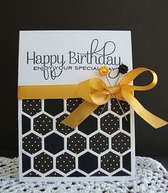 handcrafted birthday card ... black and white with a pop of gold ... hexangon cover plate in white and filled with black and black and white polka dots ... luv the big HAPPY BIRTHDAY sentiment ... Paper Trey Ink ...
