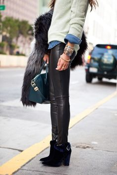 sweaters, fashion, outfit, denim shirts, street styles, fur, leather leggings, leather pants, chambray