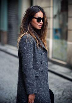grey coat.