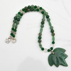 Green Aventurine carved leaf necklace. $26.00, via Etsy.
