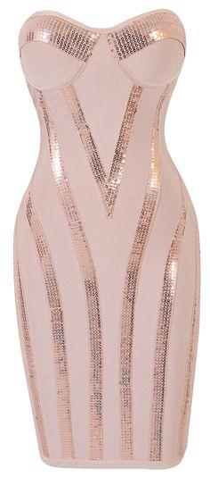 Clothing : Bandage dresses : 'Michaela' Light Pink Sequin Strapless Bandage Dress