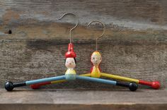 Rare Vintage Childrens Wood Clothes Hangers - 1930