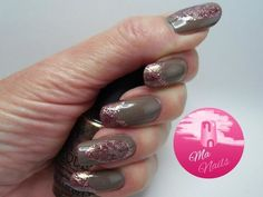 Autumn Design with Sparkly Tips and Leaf Accents via #manails #nailart - bellashoot.com