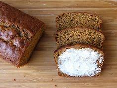 extra-moist sour cream pumpkin bread with cinnamon butter