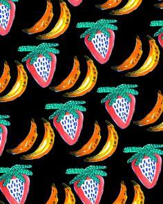 Strawberry Banana. #pattern #illustration
