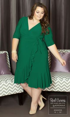 """Real Curve Cutie Jennifer (5'6"""" and a size 1x) is a picture of beauty in our plus size Whimsy Wrap Dress.  www.kiyonna.com  #KiyonnaPlusYou  #Plussize  #MadeintheUSA  #Kiyonna  #OOTD"""