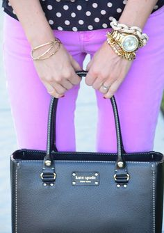 Purple & polka dots, gold jewelry, kate spade