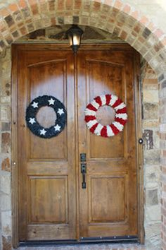 Try making these red, white and blue wreaths to dress up your door for the Fourth of July.