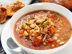 Pasta e Fagioli: Have you ever seen this dish on a menu and wondered what it is? Now you can try it at home! Beans, pasta, herbs and tomatoes go very well together.