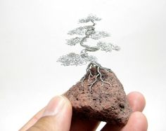 twisted wire cloud bonsai tree on rock - Google Search