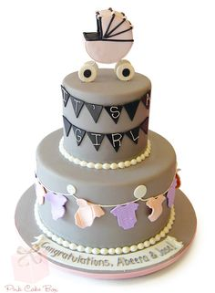 Charcoal Gray and Chalkboard themed Baby Shower Cake for Abeera and Jose!