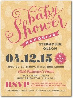 Dainty Droplets - Baby Shower Invitations - Picturebook - Lipstick Pink #babyshower
