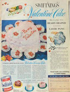 Valentine Cake Ad - Swiftning's Shortening, 1950's baking