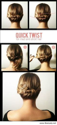 Quick twist updo for short hair - BeaLady.net