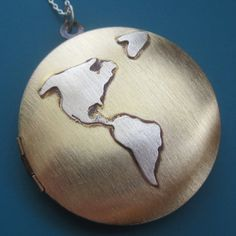 Globe Map Necklace by sudlow on Etsy, $120.00