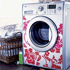 Decorate your washer and dryer with vinyl decals to brighten up your laundry room ..... How cute is that?