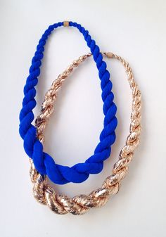 gold and cobalt twisted rope necklaces