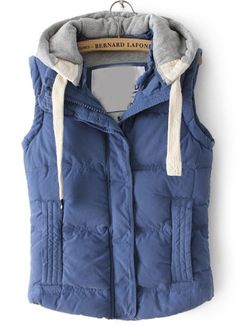 Blue Hooded Sleeveless Pockets Down Vest - Sheinside.com