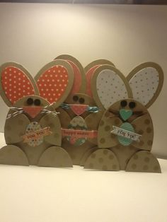 handmade Easter card ... bunny shaped ... big round oval ears .. folded over arms with gifts ... fun look! ... Stampin'Up!