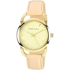 Anne Klein Women's Round Gold-Tone & Tan Leather Quartz Watch ($55) ❤ liked on Polyvore