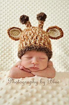 Newborn Baby Crochet Giraffe Hat Photo Prop.... Because I love giraffes and anything that could potentially embarrass my future child/children down the road.