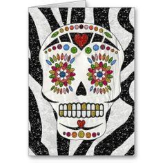 RAB Rockabilly Sugar Skull on Zebra Print Greeting Cards by Lee Hiller #Photography and Designs