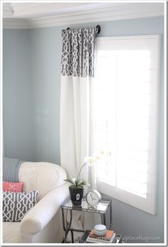 Add a printed fabric to the top of solid drapes