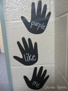 The kids high five and say the word when they go out. Super simple, easy, and effective.