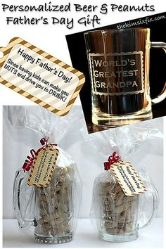 """DIY Etched Beer Stein filled with Peanuts for Father's Day   (""""Happy Father's Day! Since having a kid like me would make anyone NUTS and drive them to DRINK!)"""