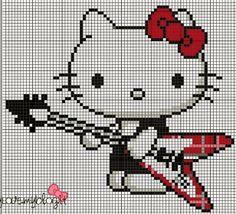 Hello Kitty rock star perler bead pattern