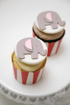 Great idea for next years birthday party... elephant cupcake toppers - circus party