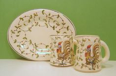 Vintage Portugal Pottery Creamers & Under Plate Roosters Outeiro Agueda, Faience